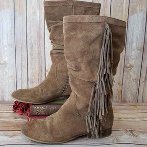 Kenneth Cole Reaction 8 Tan Suede Fringe Boots EUC